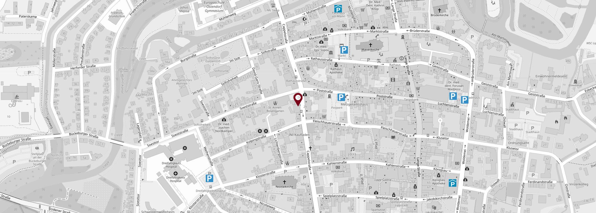 Karte Parkmöglichkeiten für Kanzlei Dr. Freund und Kaster